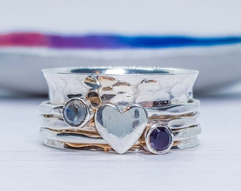 US 7 | UK O | EU 55 Personalized Sterling Silver Spinner Ring for Women * Wide Band * Custom Thumb Ring * Moonstone Heart Design *