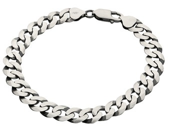 Oxidised Sterling Silver Flat Curb Chain Bracelet
