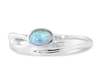 Oval Blue Opalite Ring * Sterling Silver * Rustic Organic Jewelry * Unique Womens Engagement Ring * Promise Ring