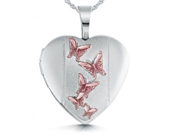 Personalised Sterling Silver Pink Butterfly Heart Locket Pendant Necklace
