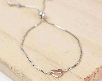 Lena * Heart Bracelet * Sterling Silver * Slider Bracelet * Anniversary Gift * Gold Bracelet * Adjustable Bracelet * Initial Bracelet *