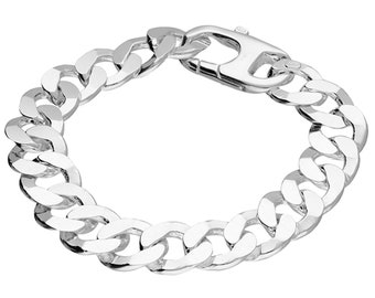 Sterling Silver Large Flat Curb Chain Bracelet