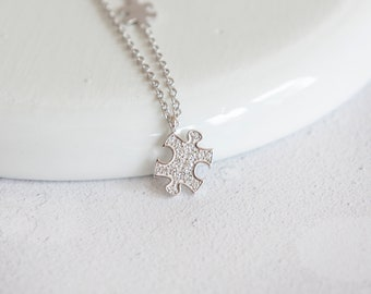 Maeva * Autism Necklace * Sterling Silver * Autism Awareness * Puzzle Necklace * Dainty Necklace * Autism Jewelry * Autism Mom * Jigsaw *
