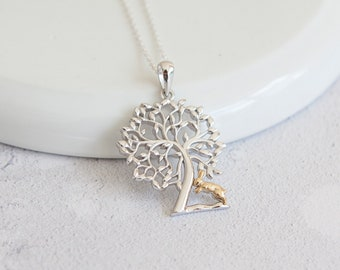 Personalised Rabbit Under Tree Necklace * Sterling Silver * Tree Pendant * Tree Jewelry * Botanical Gift * Summer * Flower Girl * Woodland