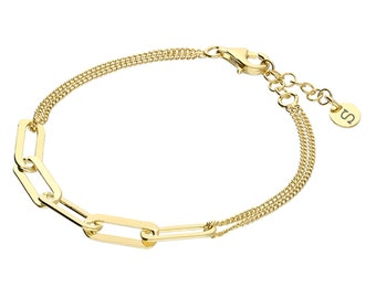 Personalised Yellow Gold Wide Link Chain Bracelet