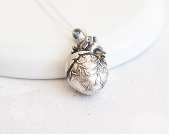 Personalised Anatomical Heart Necklace * Sterling Silver *  Memento Mori * Anatomical Pendant * Human Anatomy * Medical Doctor * Curiosity