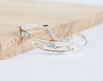 Cady * Organic Bracelet * Sterling Silver * Spring Wedding * Flower Girl * Wedding Jewelry * Wedding Bracelet * Wedding Set * Silver Wedding