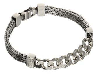 Personalised Oxidised Sterling Silver Heavy Herringbone and Curb Chain Bracelet