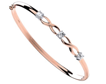 Personalised 9ct Rose Gold and Cubic Zirconia Celtic Love Knot Hinged Bangle Bracelet