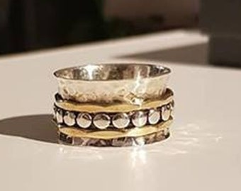UK S - Sterling Silver and Brass Spinning Ring - Customer Return