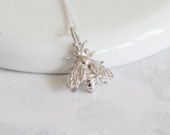 Alicia * Bee Necklace * Sterling Silver * Bumble Bee Gift * Worker Bee Jewelry * Honey Bee * Manchester Bee * Bee Pendant * Queen Bee Insect