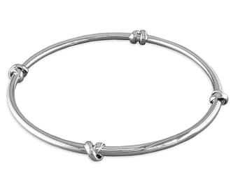 Personalised Sterling Silver Love Knot Bangle Bracelet
