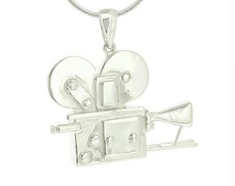 Sterling Silver Movie Camera Pendant Necklace
