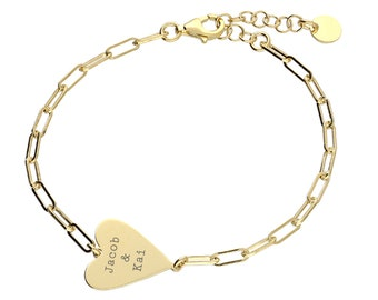 Personalised Gold Wide Chain Link Heart Bracelet