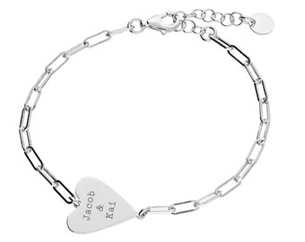 Personalised Sterling Silver Wide Chain Link Heart Bracelet