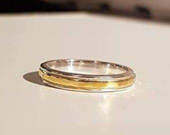 UK O - Sterling Silver and Yellow Gold Vermeil Spinning Ring - End of Line