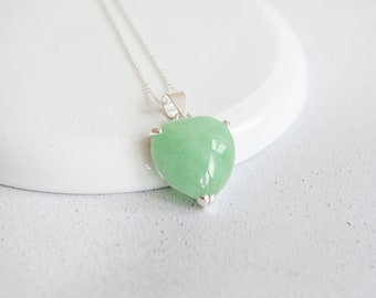 Personalised Jade Heart Necklace * Sterling Silver * Chinese Jade * Gemstone Heart * Love Pendant * Heart Chakra * Healing * Birthday Gift *