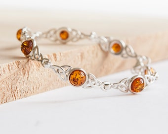 Personalised Amber Celtic Bracelet * Sterling Silver * Celtic Amber Bangle * Celtic Knot * Irish Bangle * Celtic Knot Jewelry * Gift