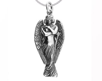 Personalized Sterling Silver Oxidized Monteverde Lost Angel Pendant Necklace