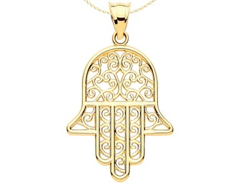Personalised 9ct Yellow Gold Filigree Hamsa Hand Pendant Necklace