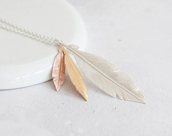 Personalised Feather Necklace * Sterling Silver * Feather Jewelry * Mixed Metal Feathers * Feather Gift * Boho Pendant * Gold Feathers