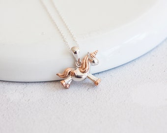 Personalised Unicorn Necklace * Sterling Silver * Unicorn Pendant * Unicorn Jewelry * Silver Unicorn * Gold Unicorn