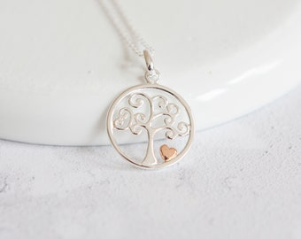 Delta * Tree of Life Necklace * Sterling Silver * Gold * Heart Pendant * Family Jewelry * Woodland * Nature * Tree-of-Life * Friend Gift *