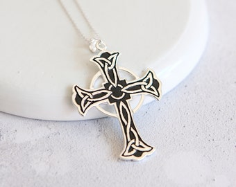Personalised Celtic Cross Necklace * Celtic Knot * Celtic Jewelry * Cross Necklace * Silver Cross * Celtic Wedding * Mens Celtic Jewelry
