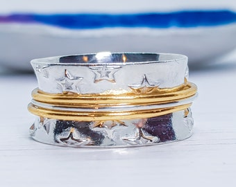 US 8.5 | UK Q | EU 58 Personalized Sterling Silver Spinner Ring for Women * Wide Band * Custom Thumb Ring * Star Design *