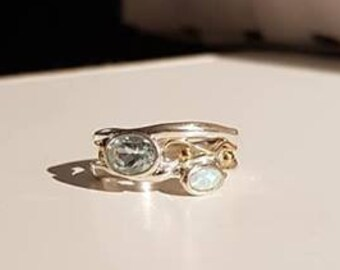 UK Q - Sterling Silver, Blue Topaz and Opalite Ring - Customer Return
