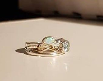 UK O - Sterling Silver, Blue Topaz and Opalite Ring - Customer Return