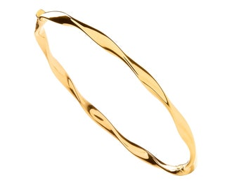 Personalised 9ct Yellow Gold Hinged Twisted Stacking Bangle
