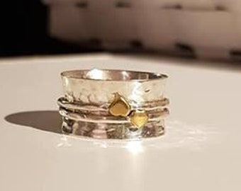 UK Q - Sterling Silver and Brass Spinning Ring - SECONDS