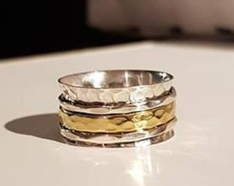 UK Q - Sterling Silver and Brass Spinning Ring - Customer Return