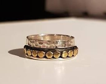 UK M - Sterling Silver and Brass Spinning Ring - Customer Return