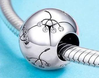 Dandelion Wish Charm Bead * Sterling Silver * 4.5mm Inner Diameter * Fits most European Charm Bracelets