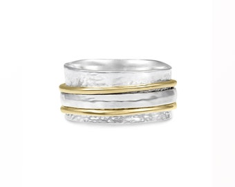 Sterling Silver Multi Textured Spinner Ring