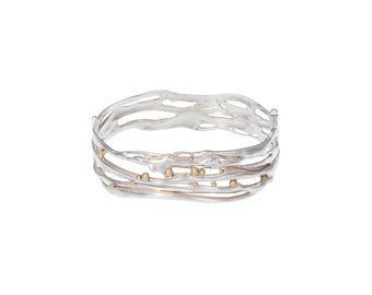 Sterling Silver Hinged Bangle Bracelet with Brass Detailing