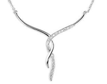 Ayah * Cubic Zirconia Necklace * Sterling Silver * Statement Jewelry * Bridal * Wedding Gift * Crystal Gift * Sparkle Twist *