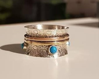 UK P - Sterling Silver, Copper, Turquoise and Brass Spinning Ring - End of Line