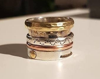 UK P - Sterling Silver, Copper and Brass Spinning Ring - End of Line