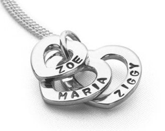 Sterling Silver Mothers Necklace for Women * Personalized with 3 Childrens Names * Three Hearts of Love Pendant Jewelry Design