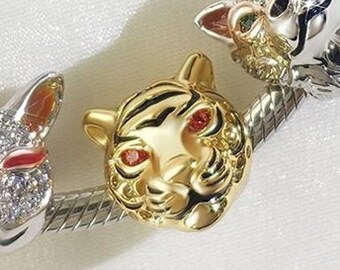 Tiger Charm Bead * Sterling Silver * 3.61mm Inner Diameter * Fits most European Charm Bracelets