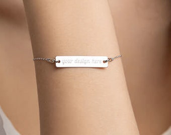 Personalised Engraved Bar Bracelet * Custom Text * Sterling Silver, Rhodium, 24ct Yellow Gold, 18ct Rose Gold
