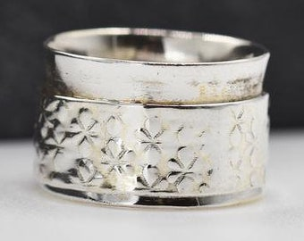 Personalised Wide Floral Print Spinner Ring * Sterling Silver * Boho * Anxiety, Meditation, Worry, Spinning Jewelry * Spin, Fidget
