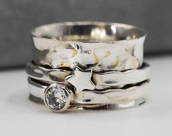 Personalised Zirconia Star Spinner Ring * Sterling Silver * Boho * Anxiety, Meditation, Worry, Spinning Jewelry * Spin, Fidget