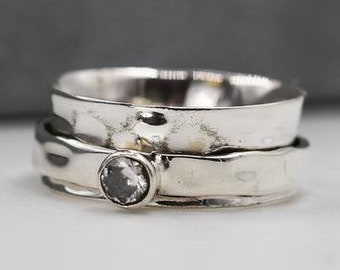 Personalised Zirconia Spinner Ring * Sterling Silver * Boho * Anxiety, Meditation, Worry, Spinning Jewelry * Spin, Fidget
