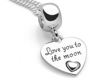 Sterling Silver Love You to the Moon and Back Necklace for Women or Girls * Personalized with 40 Characters * Love Heart Pendant Jewelry