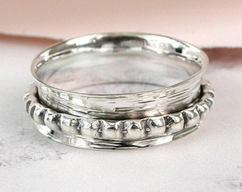 UK T Slim Dotty Spinner Ring * Sterling Silver * Boho Ring * Anxiety and Meditation Ring * Worry Ring * Spinning Jewelry * Spin, Fidget Ring