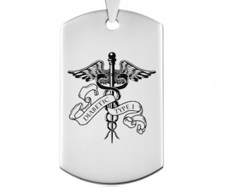 Vigilate * Medical Alert Necklace * Stainless Steel * Medical Jewelry * Alert Pendant * Gents Medical * Caduceus Dog Tag * Personalised